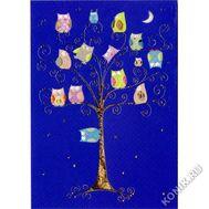Открытка. Совы на дереве ночью, фото 1